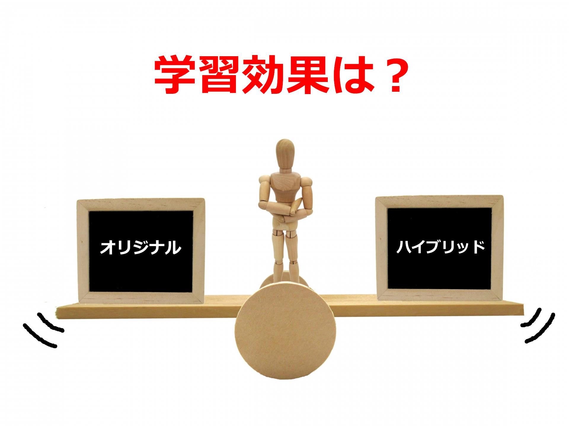 学習効果を黒板で比較する人形