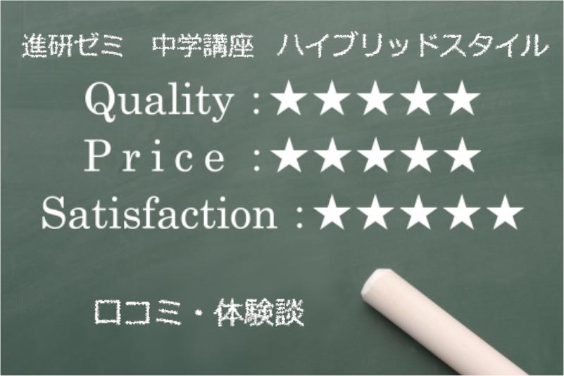 進研ゼミ中学講座の評価表