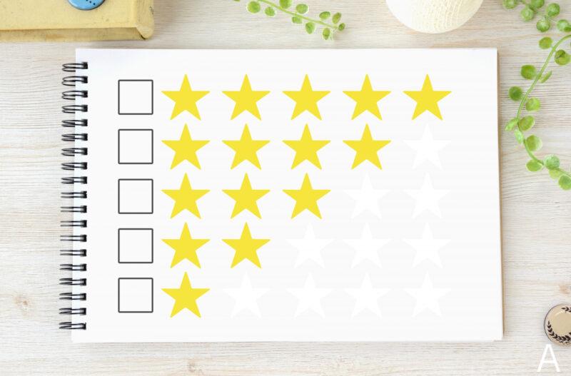 スケッチブックに描かれた評価用の星