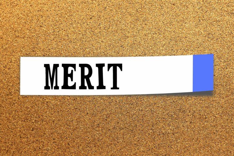 merit付箋に書かれたmeritの文字