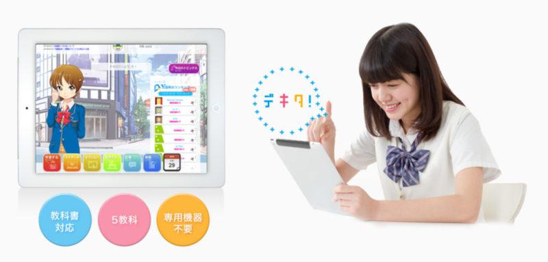 タブレット学習の画面と取り組む女子