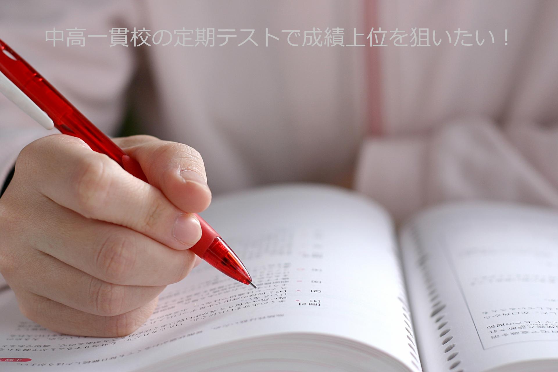 ペンを持って本をなぞる手