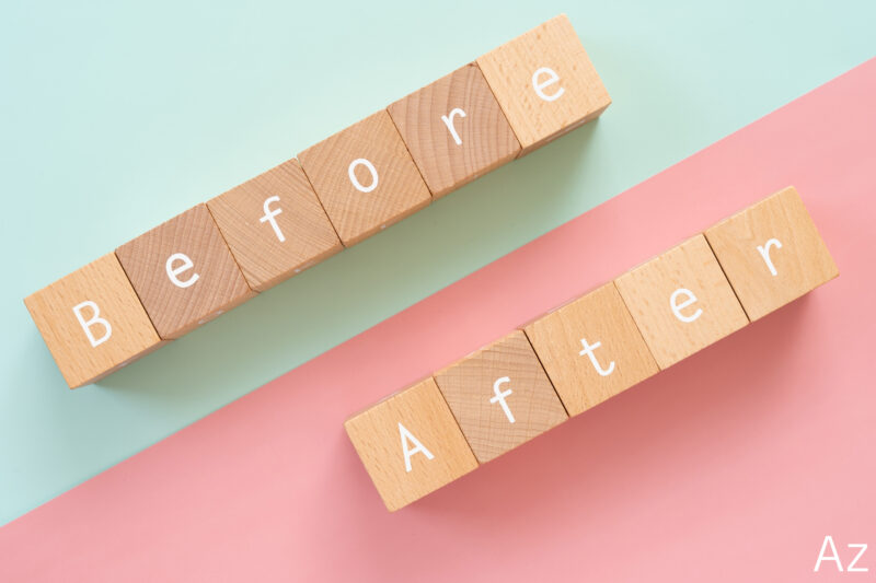 Before/Afterと書かれた木のブロック